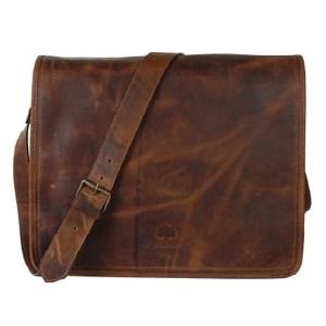 Vintage Genuine Leather Passion Business Flapover Messenger Unisex Shoulder Satchel Ipad Bag