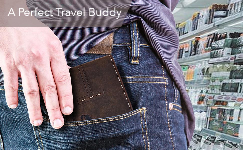 Mens Genuine Leather RFID Blocking Bifold Wallet Sleek Slim ID Window Credit Card Holder Coin pocket