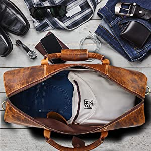 bag leather women men duffel travel weekender sports luggage airplanes carry-on gym heavy weekend