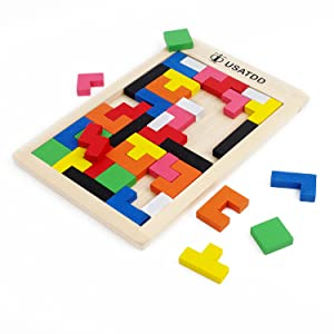 Amazon usatdd wooden tetris puzzle tangram jigsaw brain teasers let us have fun now ccuart Gallery