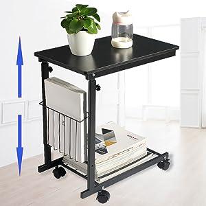 micoe height adjustable with wheels sofa side table slide under adjustable console. Black Bedroom Furniture Sets. Home Design Ideas