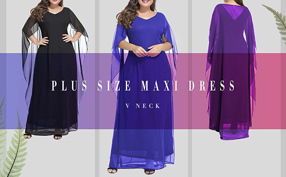 LALAGEN Womens Plus Size V Neck Formal Party Maxi Dress with Long Chiffon  Cape