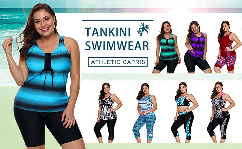 cc0d2e93580 Lalagen Women s Plus Size Rash Guard Capris Tankini Athletic ...