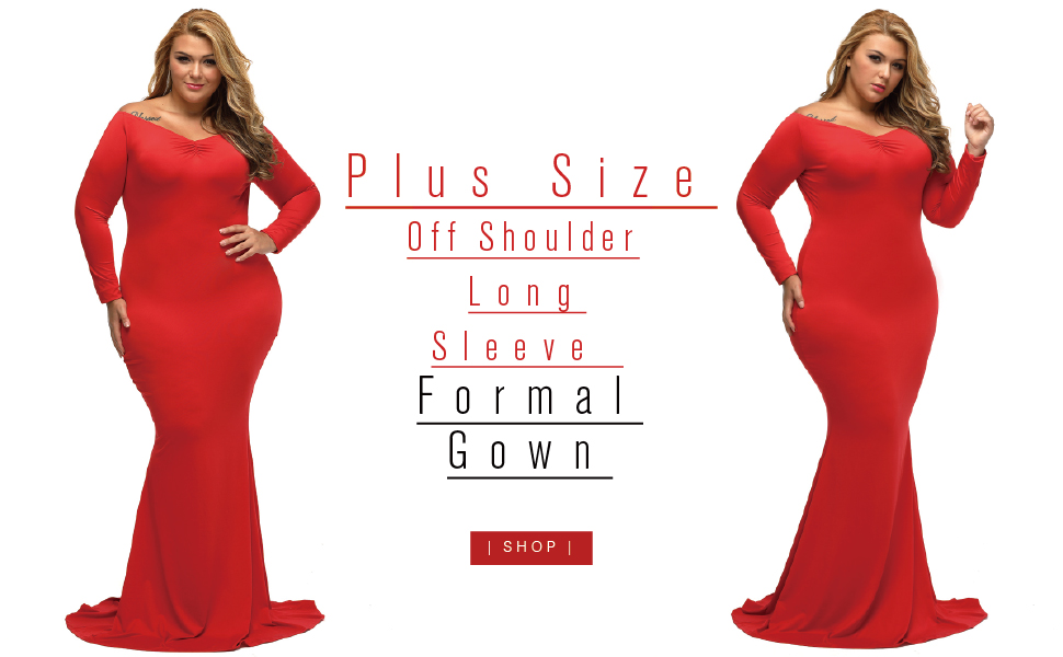 Lalagen Women\'s Plus Size Off Shoulder Long Sleeve Formal Gown at ...
