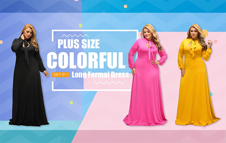 Lalagen Women s Vintage Long Sleeve Plus Size Evening Party Maxi ... 02a0c5051