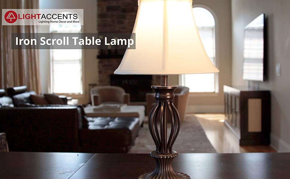 This Table Lamp Features Sturdy Metal Scroll Construction With A Bronze  Painted Finish ...