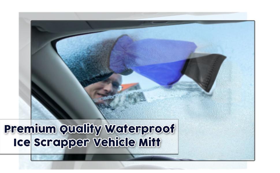 Blue Zone Tech Car Ice Scraper Mitt for Windshield Waterproof Snow Scraper with Lined Fleece Glove Removable
