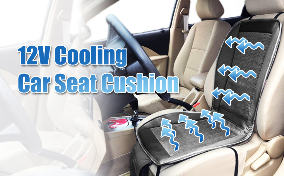 zone tech cooling car seat cushion black 12v automotive adjustable temperature. Black Bedroom Furniture Sets. Home Design Ideas