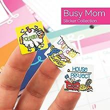 Busy Mom Planner Stickers Variety Set for Kid, School Events, Play Dates, Birthdays, Spring Break