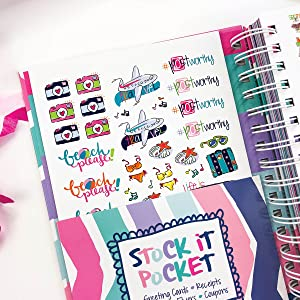 Reminder Binder 2019-2020 18-Month Planner w/ 361 Stickers Weekly & Monthly Views, 6.5