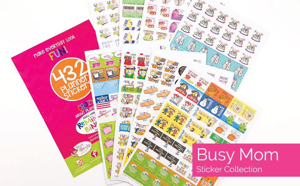 busy mom planner stickers variety set for kid school events play dates birthdays