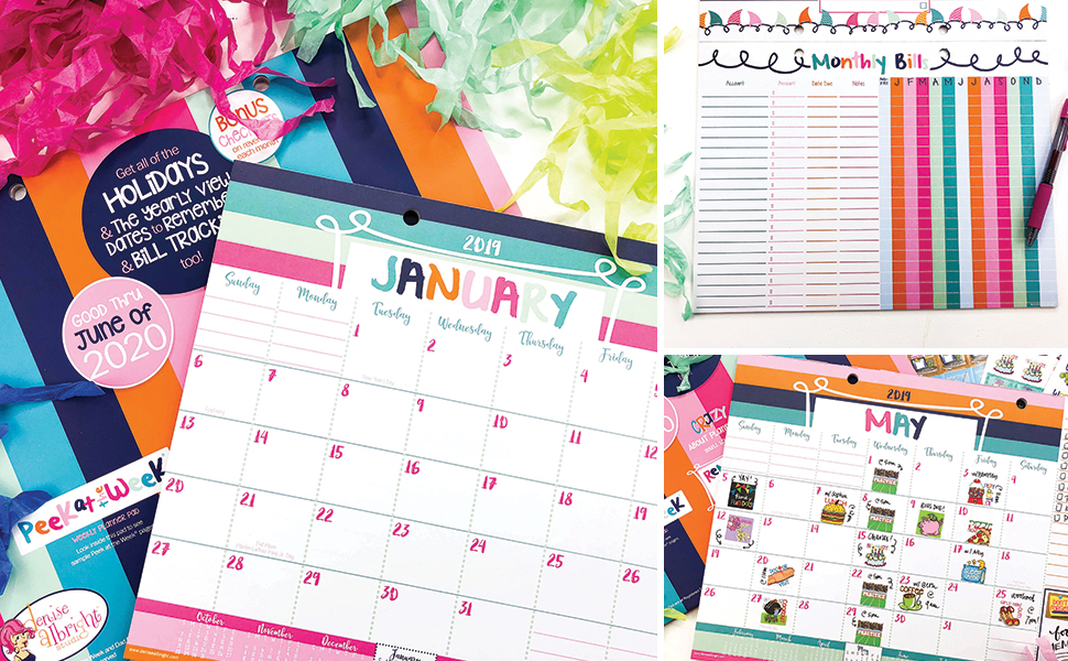 2019-2020 Monthly Desk Calendar 18-Month + Event Stickers Variety Set (Monthly Planner Pad + Epic Sticker Set)