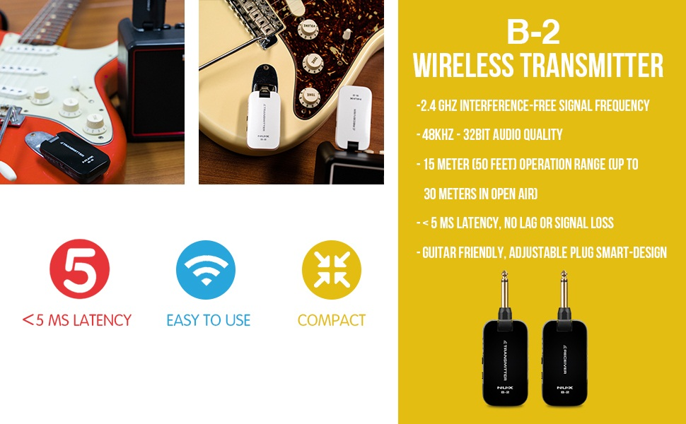 Range of up to 150 Ft U Series Wireless Guitar System w// 16 Operating Channels