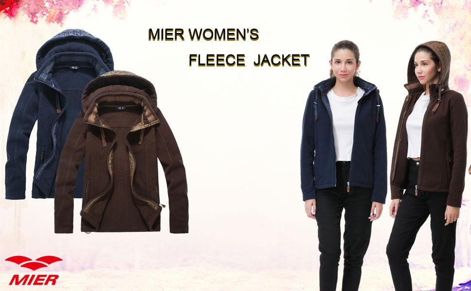 MIER Women's Fleece Jacket Full Zip Hoodie with Drawcord Hem