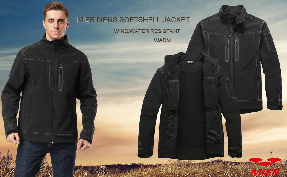 MIER Men's Softshell Jacket Outdoor Fleece Coat