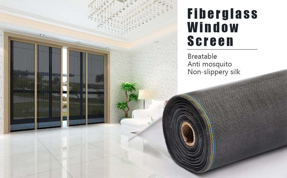 48W x 48L Durable Fiberglass Adjustable Screen for Windows and Door DIY Window Screen Roll French Patio Entry Porch Sliding Door Screen Mesh Curtain Net Wire Black MAGZO Window Screen Replacement