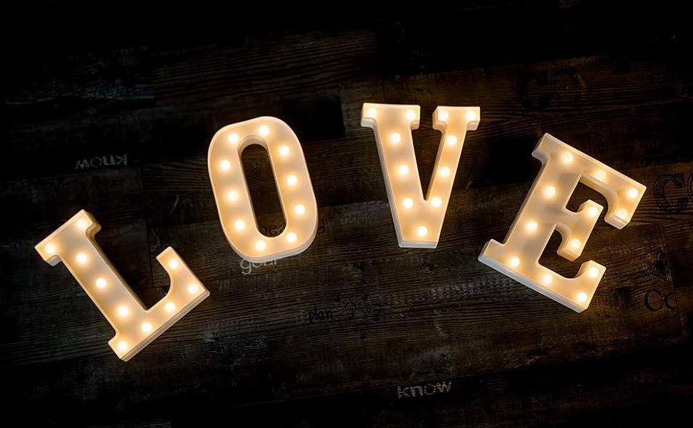Amazon.com: Letrero con 26 letras LED para luz nocturna ...