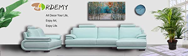 Canvas Wall Art Tree White Birch Picture Painting One Panel Blue Forest Landscape Nature Artwork