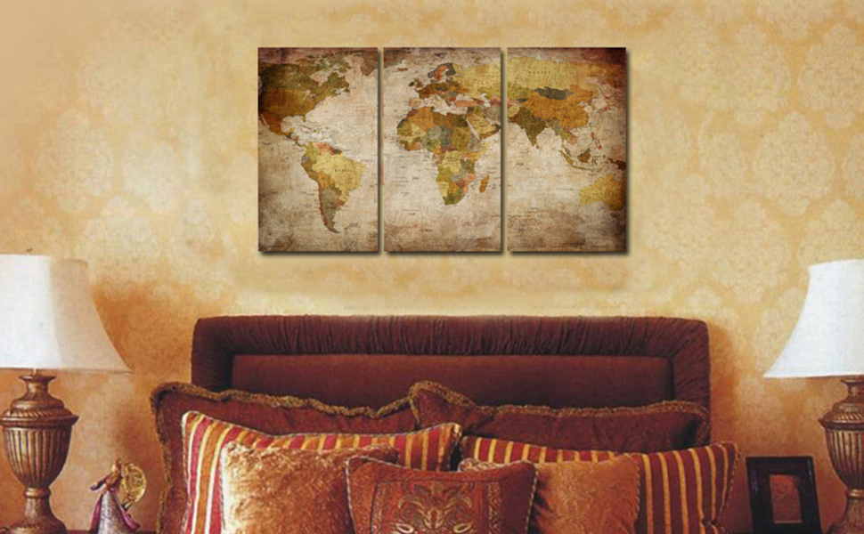 Amazon.com: Ardemy Canvas Wall Art World Map 3 Panels Vintage ...