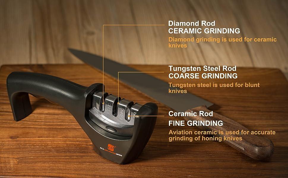 Professional Knife Sharpener, 3 Stage Diamond Ceramic Tungsten Steel Handheld Knives Sharpening, Afilador De Cuchillos