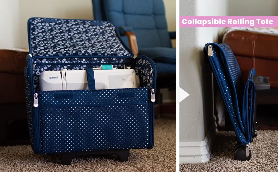 Collapsible Rolling Tote for sewing machines brother singer janome bernina