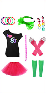 Womens I love 80s T Shirt tutu skirt gloves neon Legwarmer Set Ladies 6212
