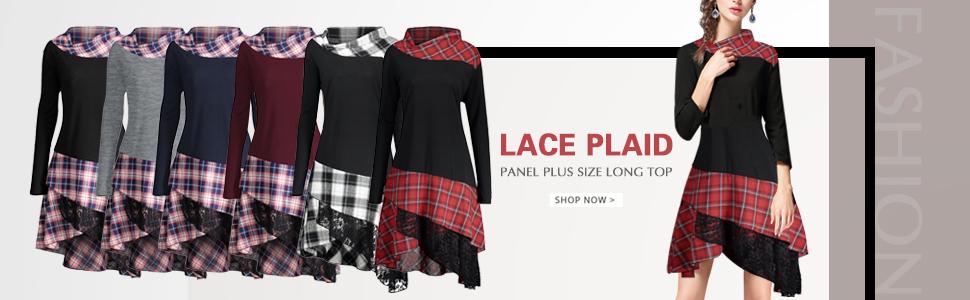 8287ebf29d35 CharMma Women s Plus Size Mock Neck Lace Plaid Panel Long Top ...