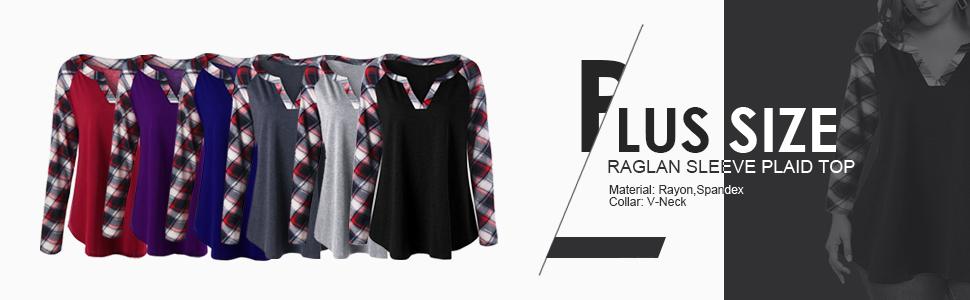 6970fd501e Rosegal Women s Plus Size Casual Split V Neck Raglan Sleeve Plaid ...