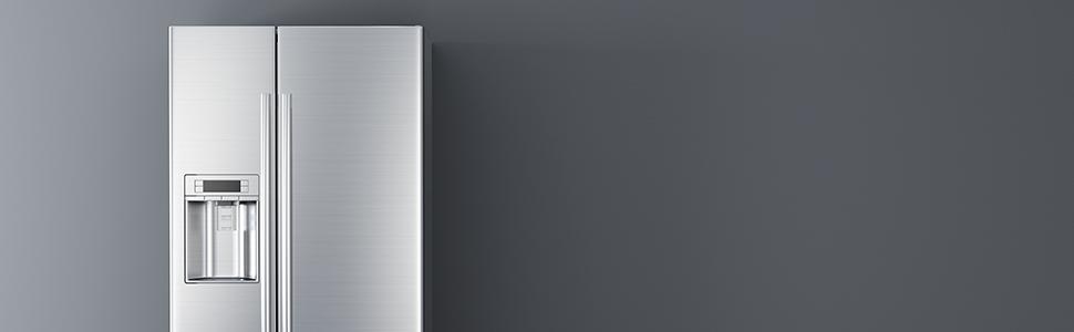 Refrigerator on gray background