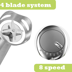 4 blade system & 8 variable speed control