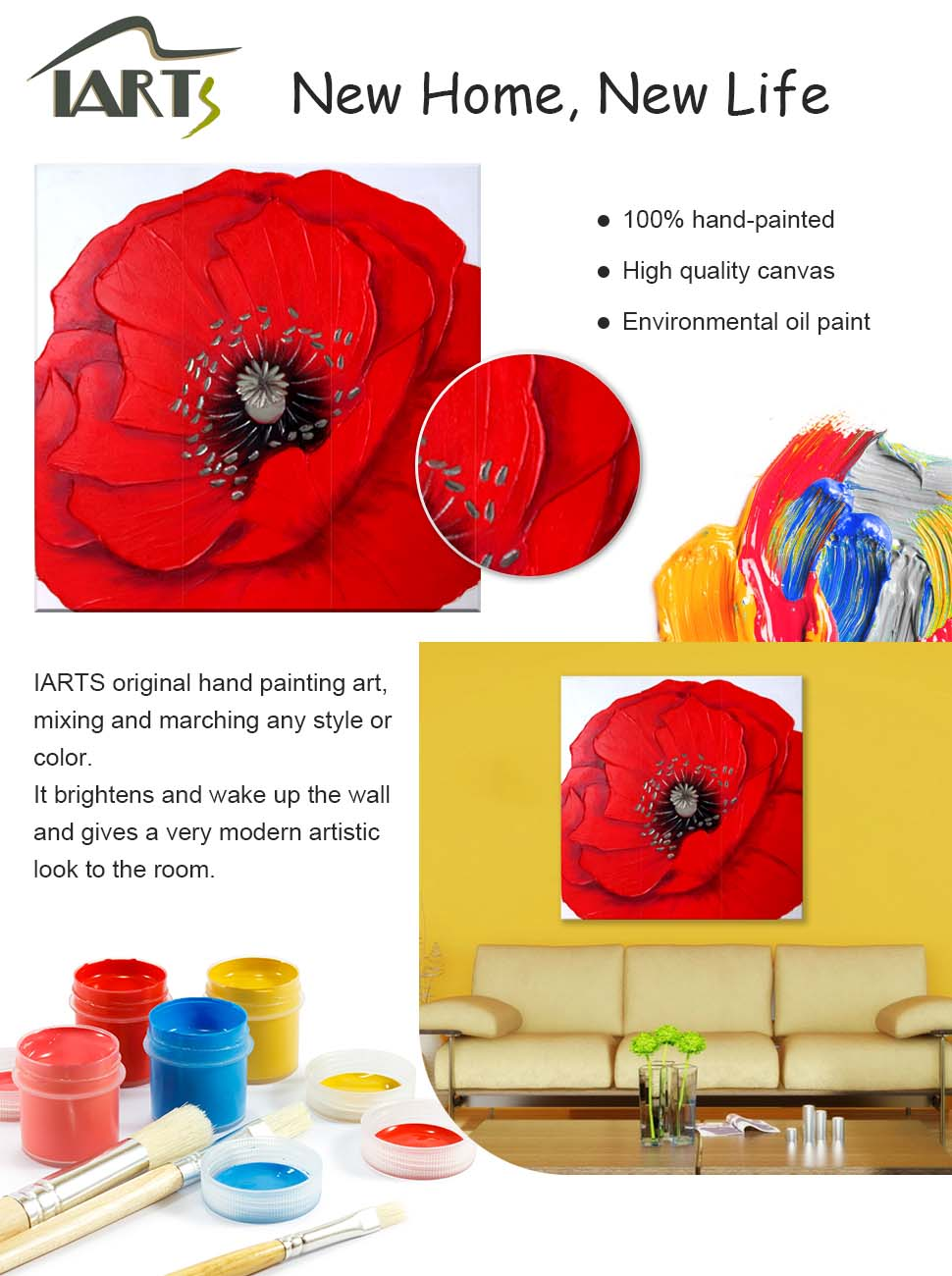 Amazon Iarts 100 Hand Painted Wall Art Blooming Poppy Flower