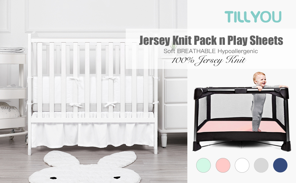 TILLYOU Jersey Knit Whale Pack N Play Sheets Ultra-Soft Breathable Playard Playpen Sheets Ocean Theme Mini Portable Crib Sheets Set Fitted for Girls