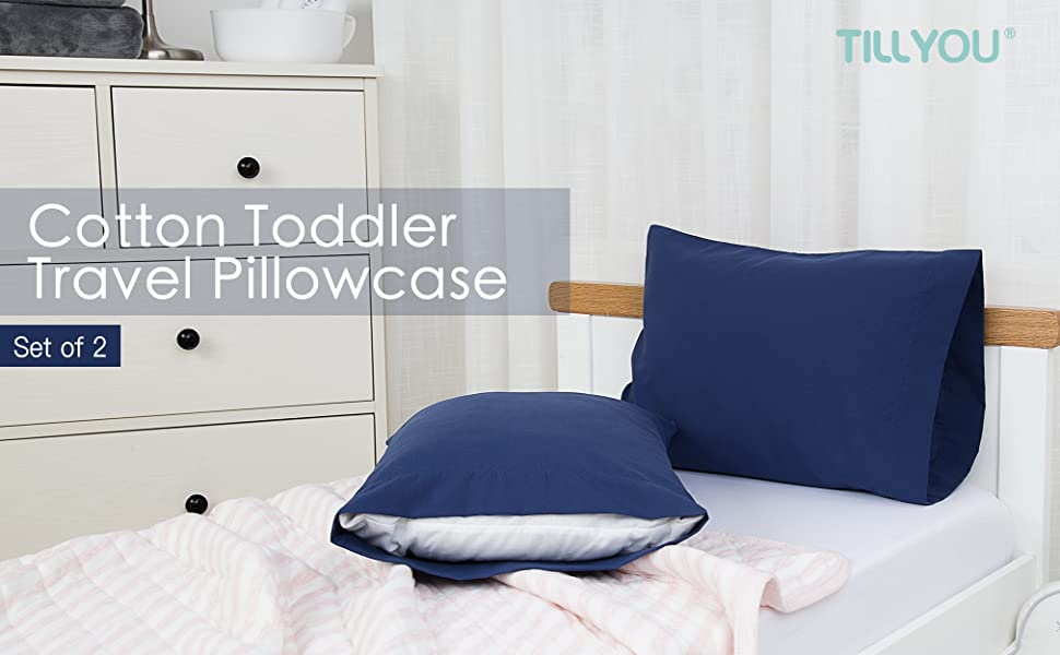 TILLYOU toddler travel pillow case pillowcase cotton set of 2 cotton 12x16 12x18 13x18 14x19 15x20