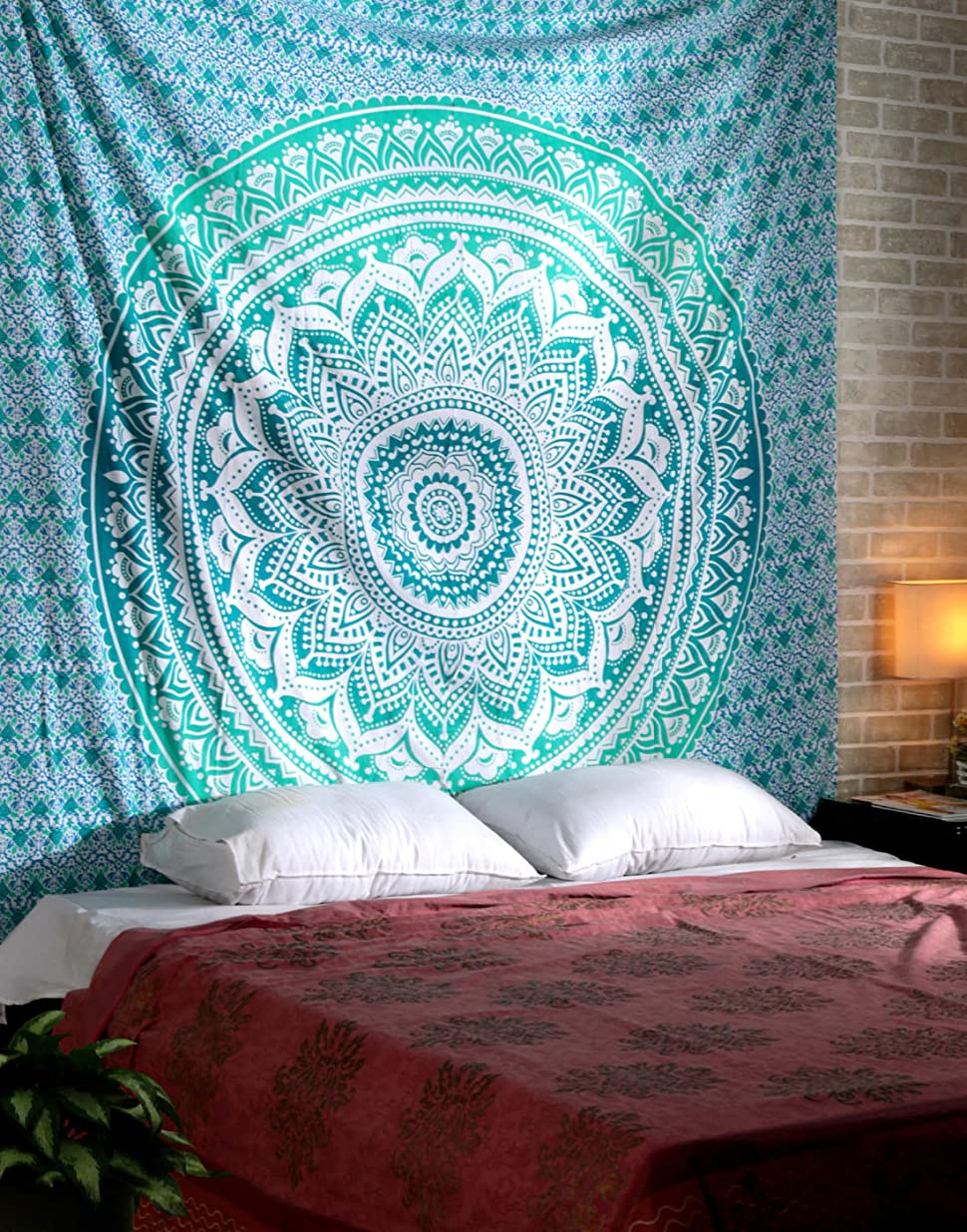 rajrang turquoise mandala large tapestry hippie boho bohemian indian wall hanging - Bedroom Tapestry