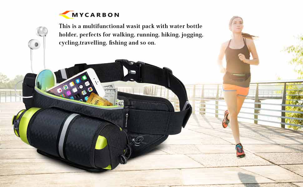 Amazon.com   Fanny Pack MYCARBON Waist Pack with Water Bottle Holder ... a718384b1637f