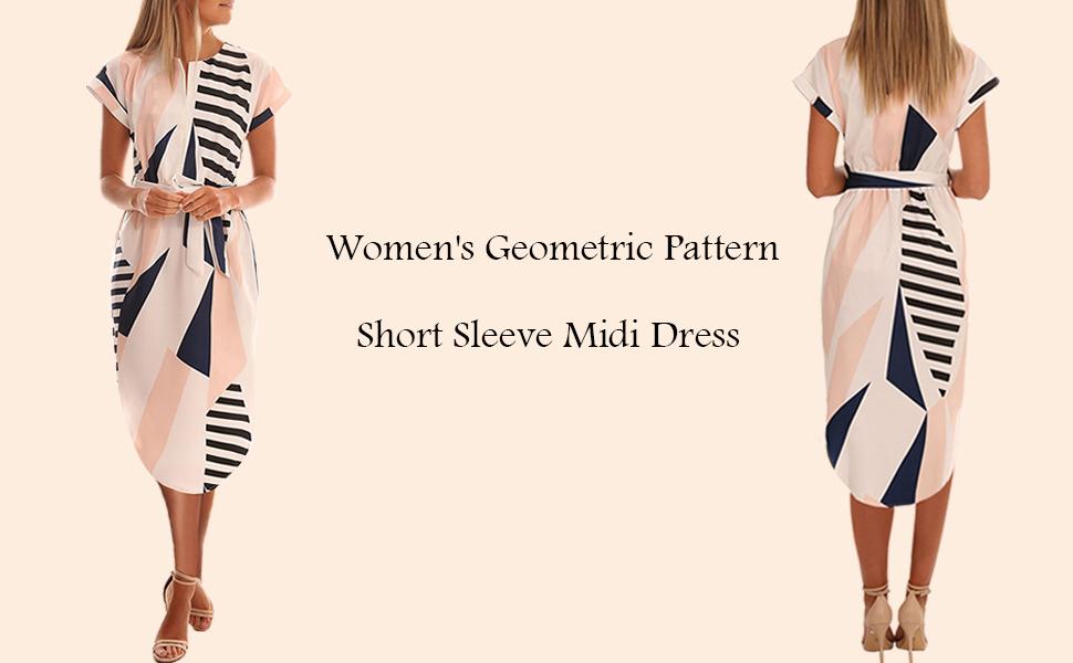 TEMOFON Women's Geometric Pattern Short Sleeve Midi Dress