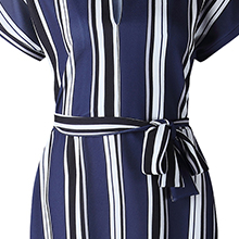 women summer casual fashion cute stripe blue dress short sleeve midi dresses for women