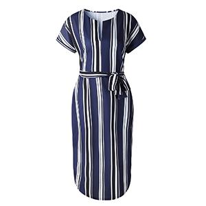 women summer stripe dress with belt