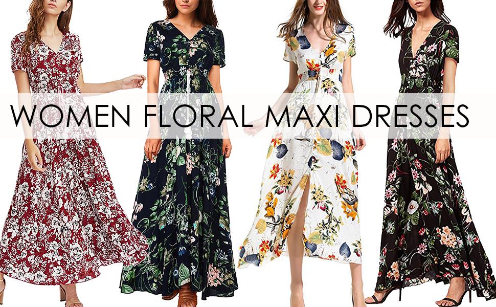 93d38d7ff6716 TEMOFON Women s Dress Button up Floral Flowy Split Maxi Summer Beach ...