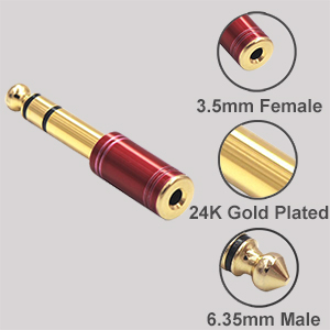 6.35mm Male to 3.5mm Female Stereo Audio Adapter