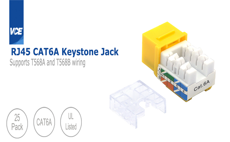 VCE 50 Pack Cat6 RJ45 90-Degree Keystone Jack Punch Down Keystone Jack Adapter UL Listed