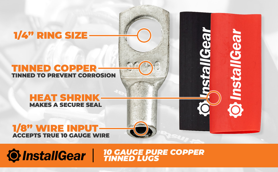 10-Pack IGLRT10-10 InstallGear 10 Gauge AWG Tinned Pure Copper Lugs Ring Terminals Connectors with Heat Shrink