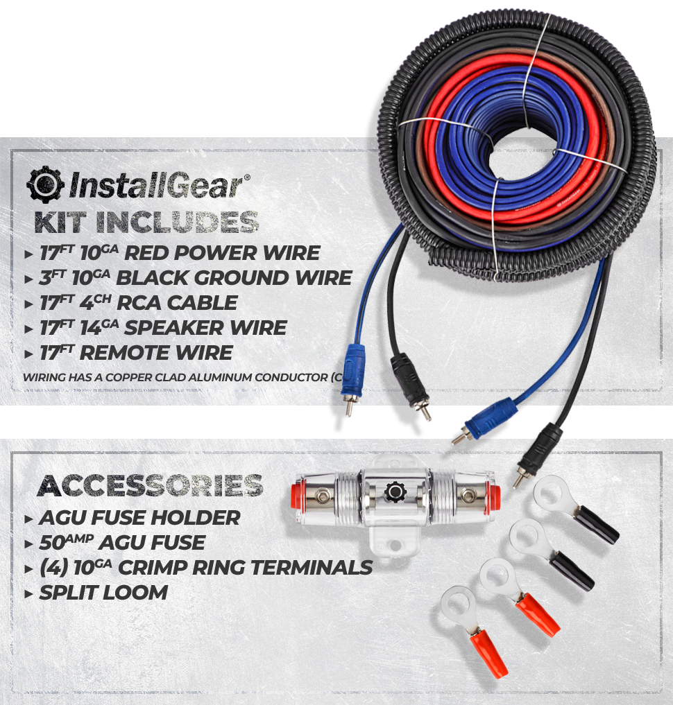 Installgear 10 Gauge Amp Install Kit Automotive Copper Power Wire Speaker Rca Audio Cables Amplifier Kits Features Of This Soft Touch Pvc Jacket Stranded Clad Aluminum Conductor Cca