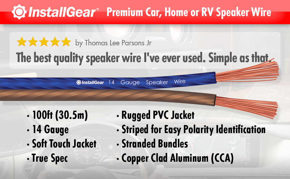 Amazon.com: InstallGear 14 Gauge AWG 100ft Speaker Wire True Spec ...