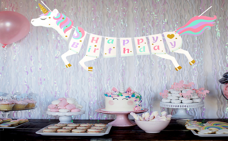 Amazon Com Unicorn Party Supplies Unicorn Happy Birthday Banner