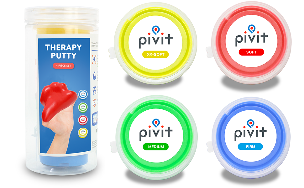 Pivit Therapy Putty Hand Exerciser Stress Balls for Adults | 4 Pack |  Fingers Hands & Grip Strength Trainer