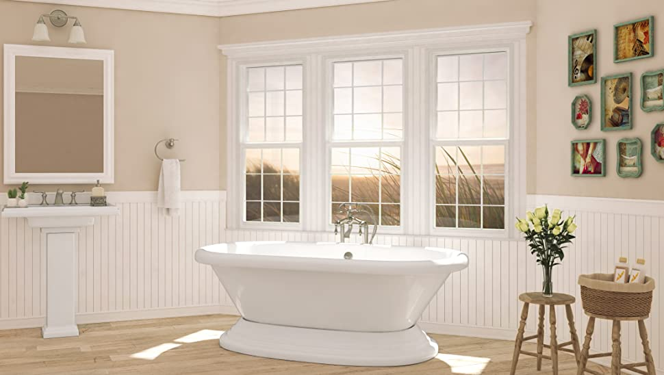 Luxury 72 inch Freestanding Tub with Vintage Tub Design in White ...