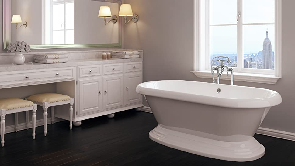 Luxury 60 inch Freestanding Tub with Vintage Tub Design in White ...
