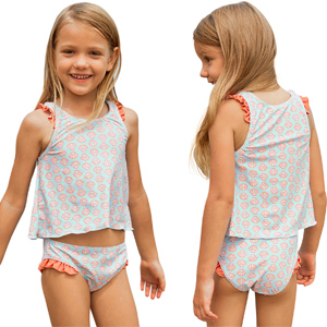 Aleumdr Little Girls Summer Two Piece Flower Printed Tankini Top Matching with The Bikini Bottom