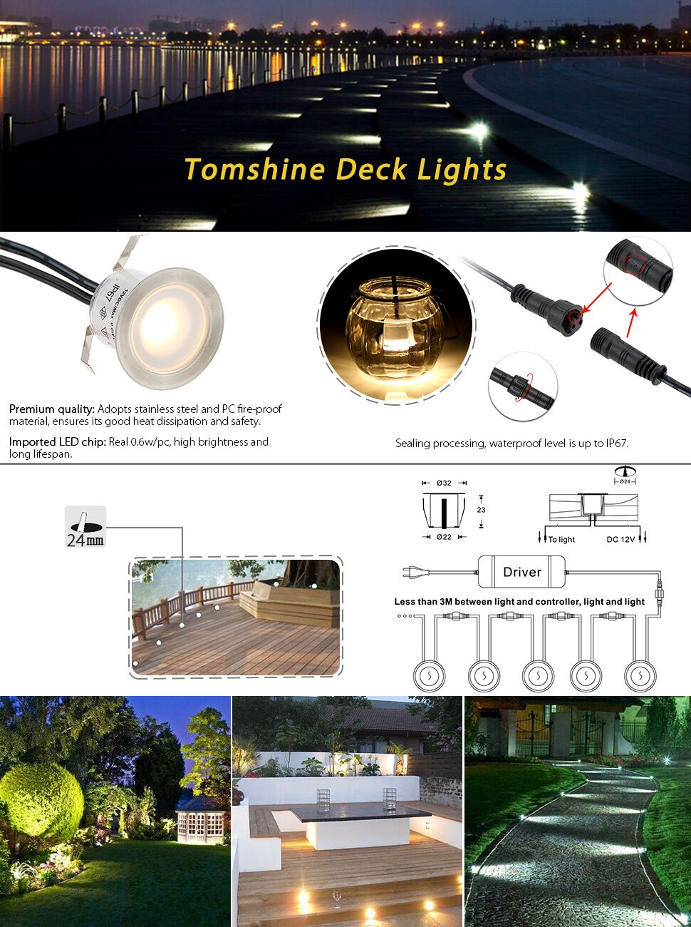 Tomshine 16 Pack Recessed Led Deck Light Kit High Bright In Ground Outdoor Lighting Diy Plans Low Voltage Wiring Ccextension Cable For This Lightsb07d7ptl1w